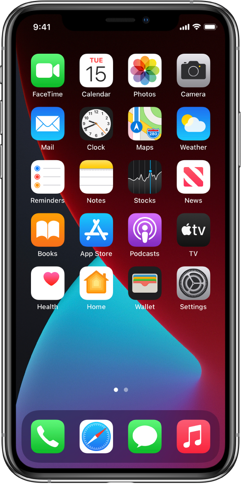 The iPhone Home Screen with Dark Mode turned on.