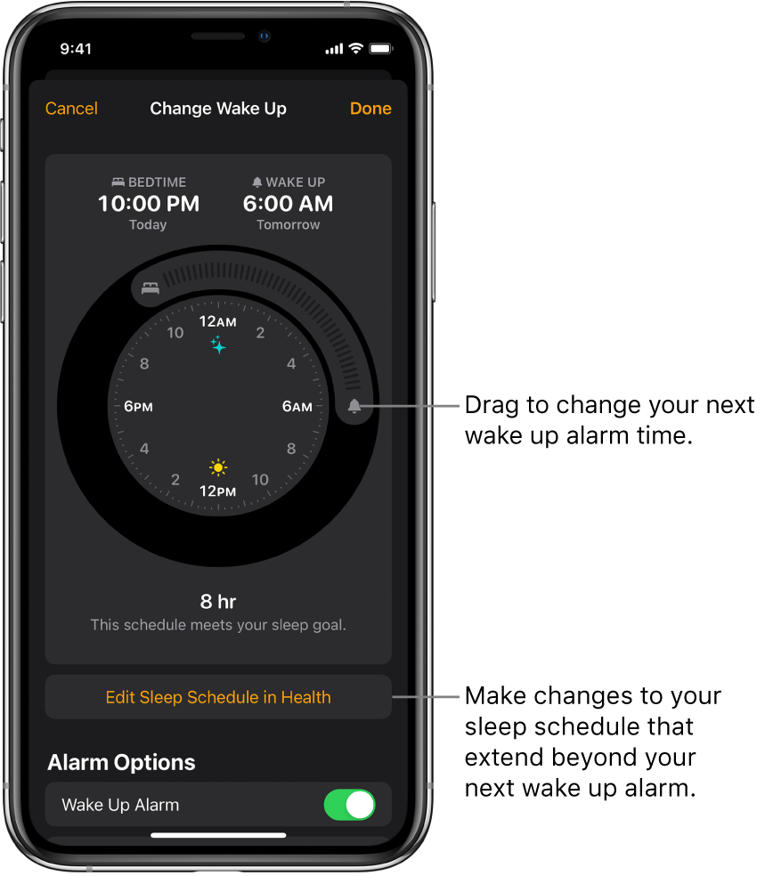 A screen for changing tomorrow's wake up alarm, with buttons to drag for changing the bedtime and wake up time, a button for changing the sleep schedule in the Health app, and a button for turning the Wake Up alarm off or on.