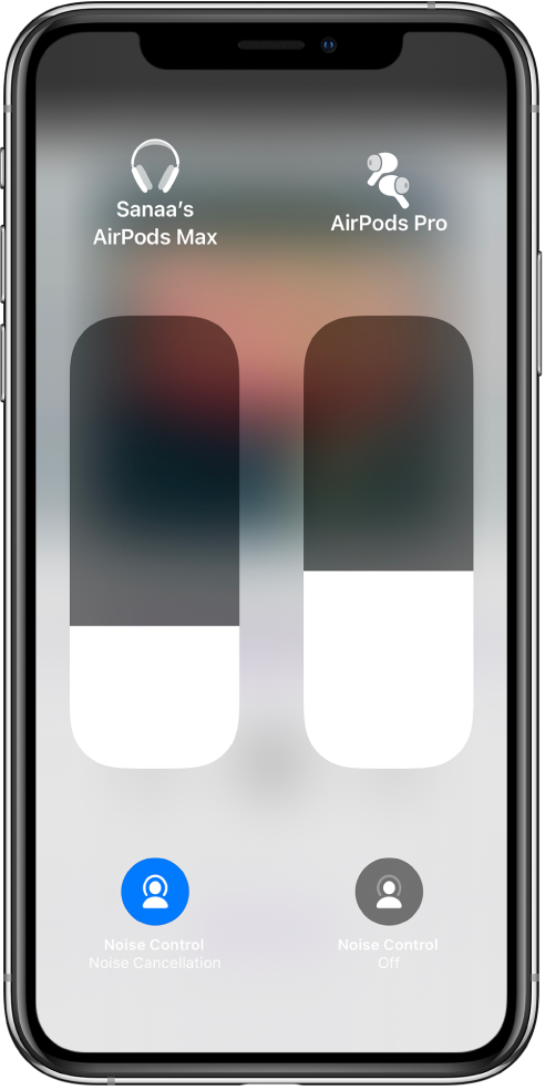 Volume slider controls for two sets of AirPods. Noise Control buttons appear below the volume slider controls.