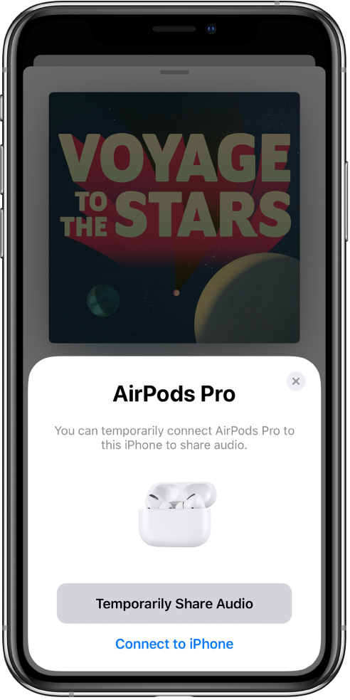 An iPhone screen showing AirPods in an open charging case. Near the bottom of the screen is a button to temporarily share audio.