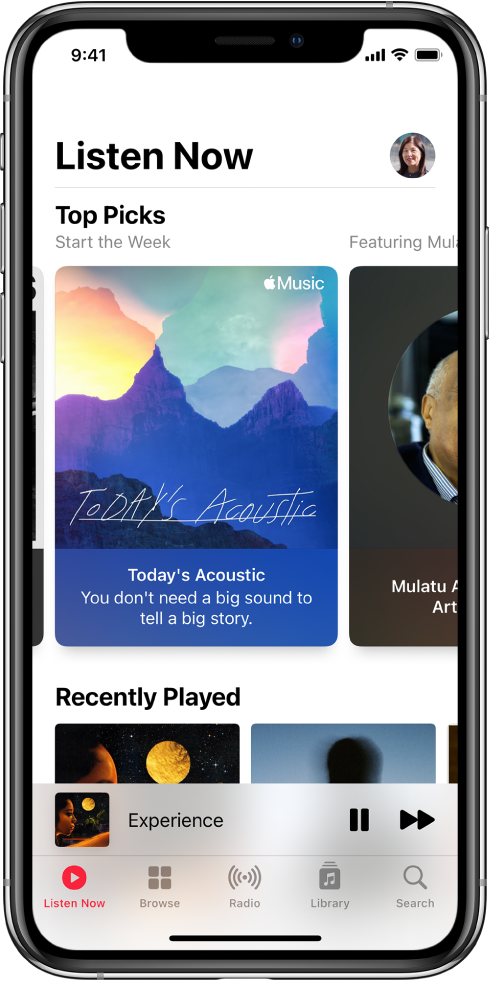 The Listen Now screen showing the profile button at the top right. Top Picks playlists appear below. Below Top Picks is the Recently Played section, showing two albums.