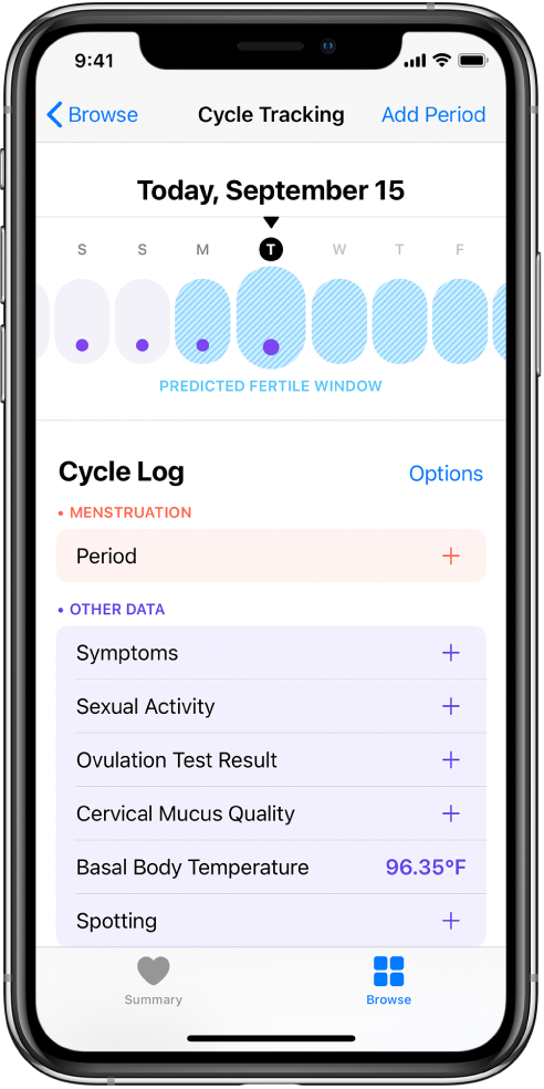The Cycle Tracking screen showing the timeline for a week at the top of the screen. Purple dots mark the first four days on the timeline, and the last five days are light blue. Below the timeline are options to add information about periods, symptoms, and more.