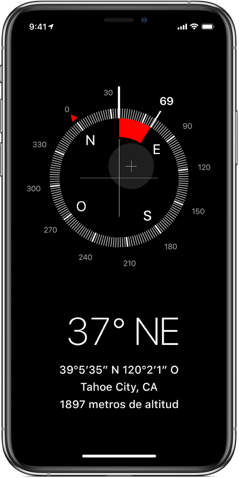 La pantalla de Brújula mostrando la dirección en la que apunta el iPhone así como tu ubicación y elevación actuales.