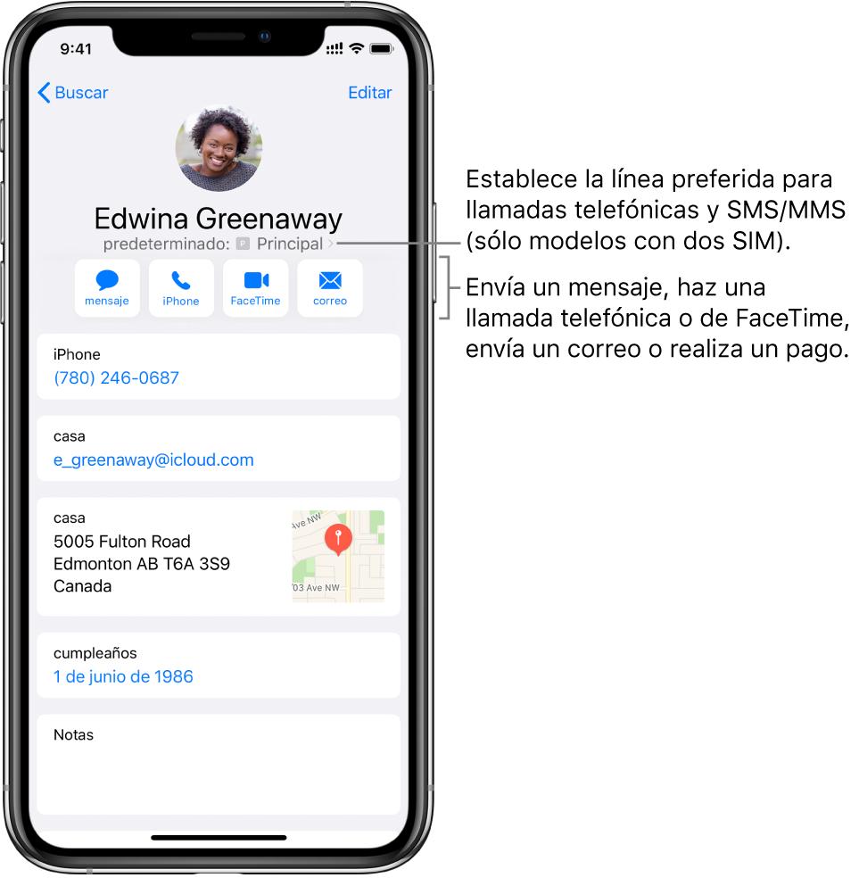La pantalla de información de un contacto. En la parte superior se encuentra el nombre y la foto del contacto. Debajo se encuentran los botones para enviar un mensaje, realizar una llamada de teléfono, realizar una llamada de FaceTime, enviar un mensaje de correo y enviar dinero con ApplePay. Debajo de los botones se encuentra la información de contacto.