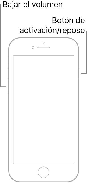 Una ilustración de un iPhone7 con la pantalla hacia arriba. El botón para bajar el volumen se encuentra en el lado izquierdo del dispositivo, y el botón Activación/reposo está en el lado derecho.