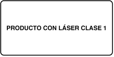 """Una etiqueta que dice """"Producto láser de clase 1""""."""