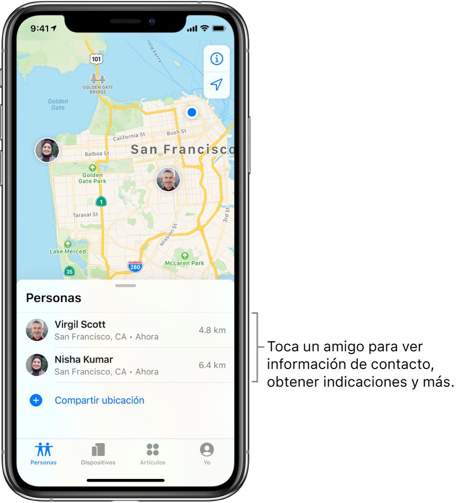 La pantalla Encontrar abierta mostrando la pestaña Personas. Se muestran dos amigos en la lista Personas. Vicente Sánchez y Núria Cavazos. Sus ubicaciones se muestran en un mapa de San Francisco.