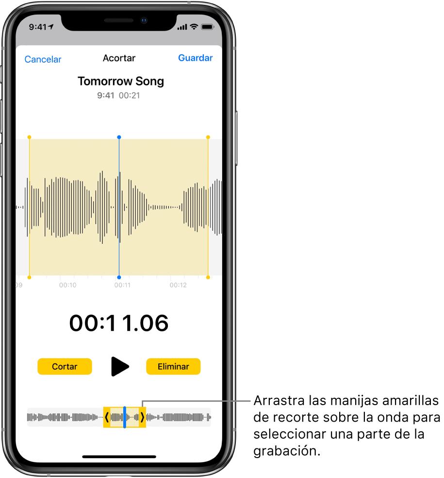 Una grabación se recorta usando las manijas de recorte al separar una parte de la onda de audio en la parte inferior de la pantalla. Encima de la onda aparecen el botón Reproducir y un temporizador de grabación. Las manijas de recorte se encuentran debajo del botón Reproducir. El botón Recortar para eliminar la parte de la grabación afuera de las manijas y el botón Eliminar para eliminar la parte de la grabación dentro de las manijas se encuentran en cada lado del botón Reproducir.