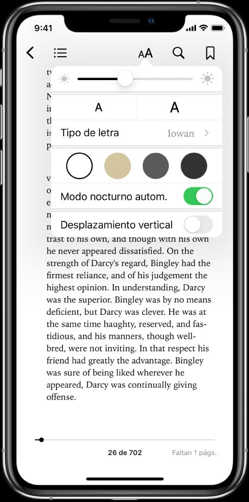 El menú Aspecto con controles (de arriba hacia abajo) para el brillo, el tamaño de la letra, el tipo de letra, el color de página, modo nocturno automático y el desplazamiento.