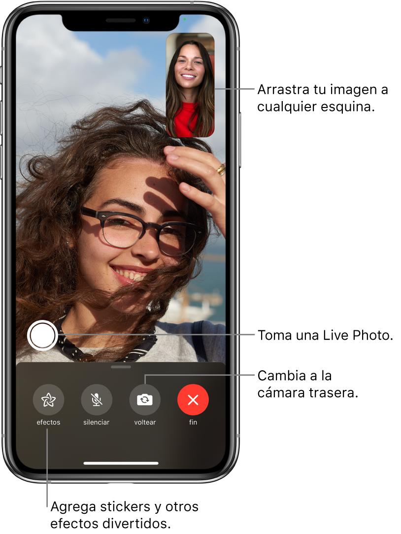 La pantalla de FaceTime mostrando una llamada en progreso. Tu foto aparece en un rectángulo pequeño en la parte superior derecha, y la imagen de la otra persona llena el resto de la pantalla. A lo largo de la parte inferior de la pantalla se muestran los botones Efectos, Silencio, Voltear y Finalizar. El botón para tomar una LivePhoto se encuentra arriba de ellos.