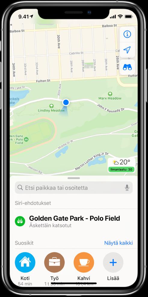 Puiston kartta sekä kolme suosikkia näytön alareunassa. Suosikit ovat Koti, Työ ja Kahvi.