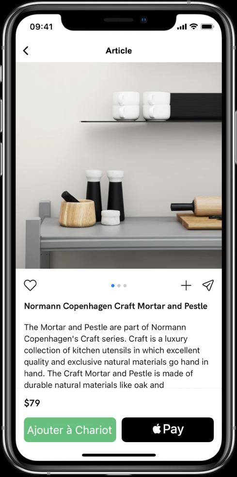 Une app affichant un écran de paiement qui inclut le bouton Acheter avec ApplePay.