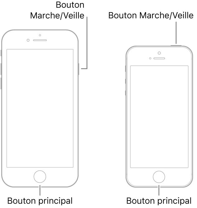 Illustrations de deux modèles d'iPhone avec l'écran orienté vers le haut. Le bouton principal se trouve en bas de l'appareil sur les deux modèles. Le modèle de gauche présente un bouton Marche/Veille sur le côté droit, près du haut, tandis que celui de droite présente un bouton Marche/Veille sur le côté supérieur, près du bord droit.