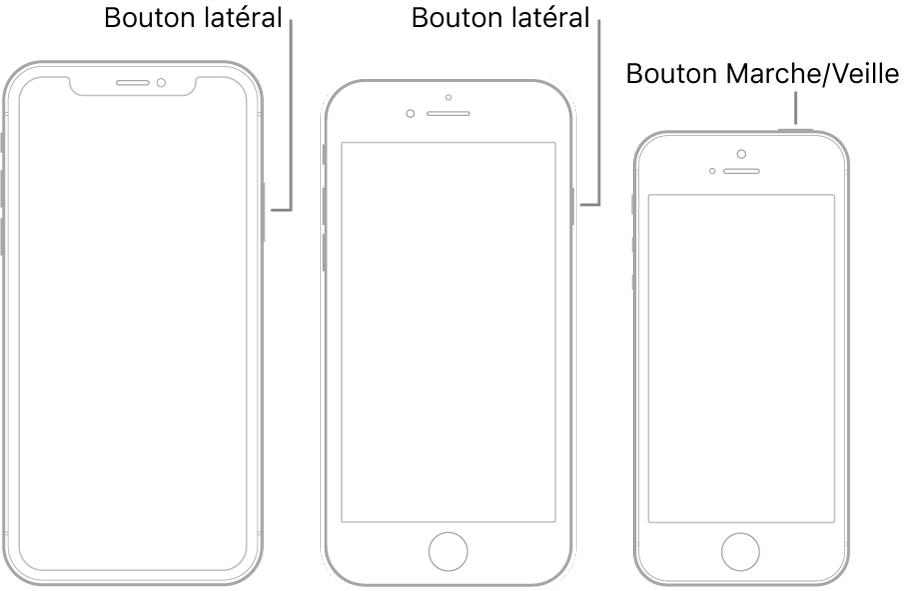 Le bouton latéral ou le bouton Marche/Veille sur trois modèles d'iPhone différents.