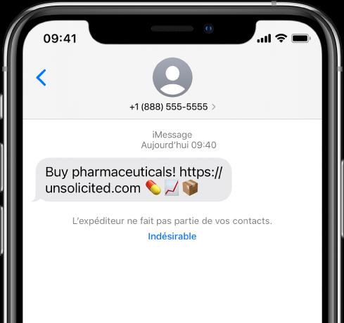 Conversation iMessage avec un spam et un lien Indésirable en dessous.