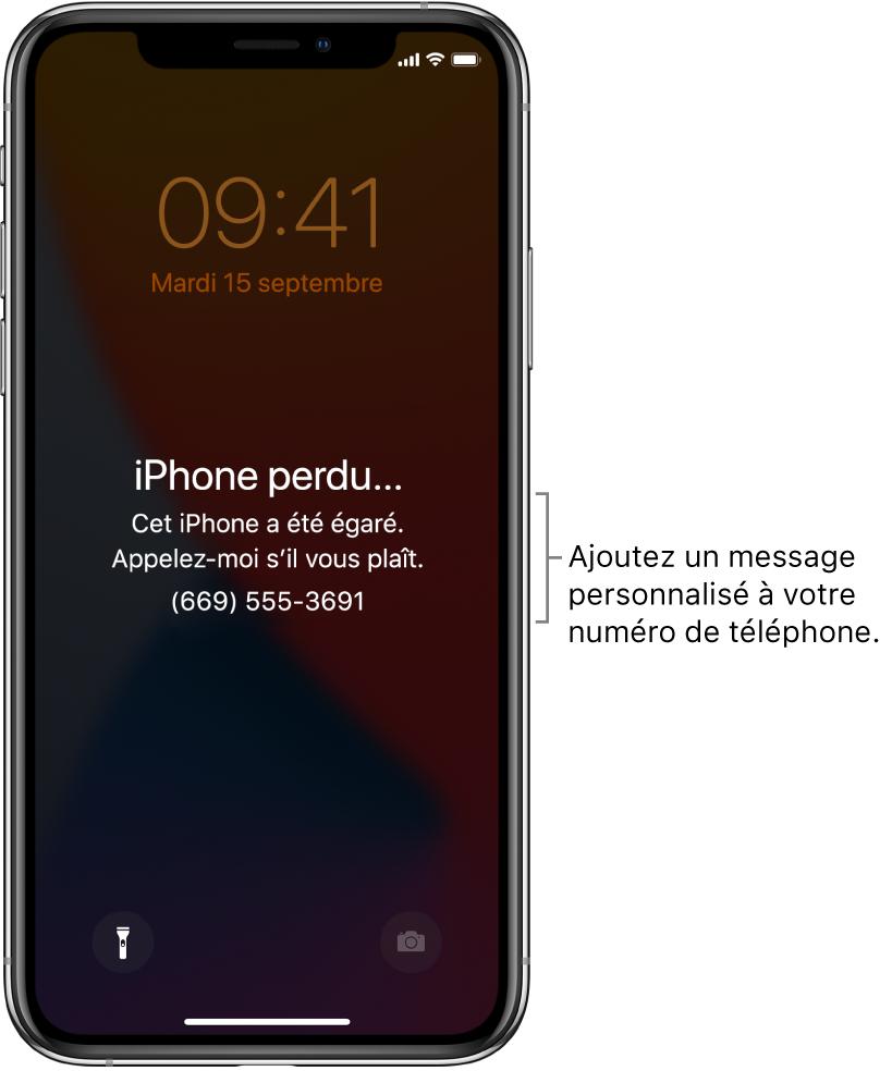 Écran verrouillé d'un iPhone avec le message suivant: «iPhone perdu. Cet iPhone a été égaré. Appelez-moi s'il vous plaît. 0609001120.» Vous pouvez ajouter un message personnalisé avec votre numéro de téléphone.