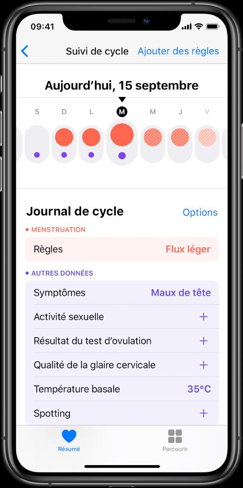 L'écran «Suivi de cycle» dans l'app Santé.