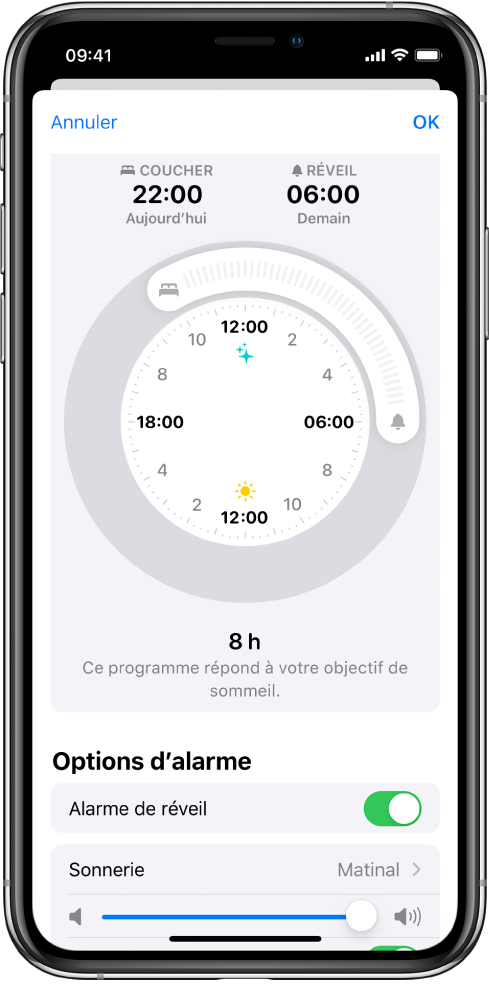 Un écran montrant Sommeil défini à 22h aujourd'hui et Réveil à 6h demain. L'alarme de réveil est activée et le son d'alarme est Matinal.