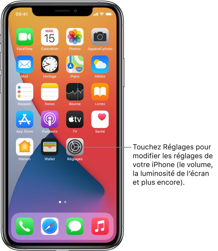 L'écran d'accueil avec plusieurs icônes d'app, notamment l'icône de l'app Réglages, que vous pouvez toucher pour modifier le volume, la luminosité de l'écran et d'autres réglages de votre iPhone.