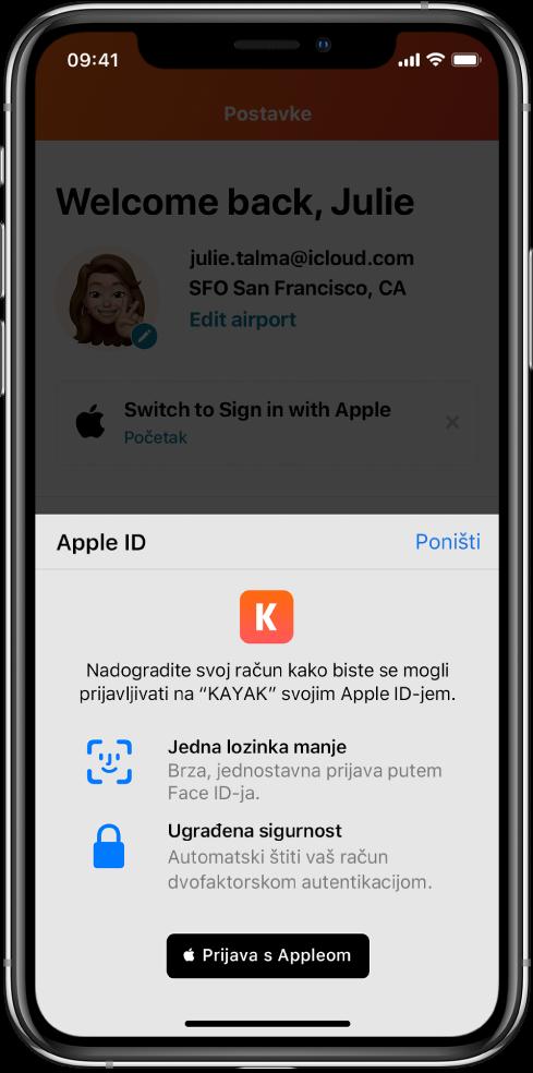 Aplikacija u kojoj je prikazana tipka Prijava s Appleom.
