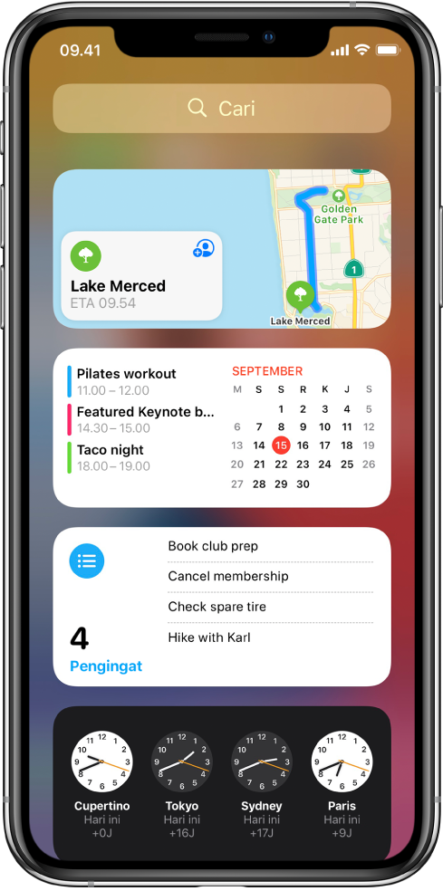 Widget Tampilan Hari Ini di iPhone, termasuk widget Peta, Kalender, Pengingat, dan Jam.