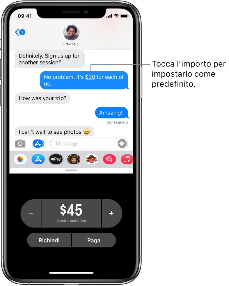 Una conversazione iMessage con l'app Apple Pay aperta in basso.