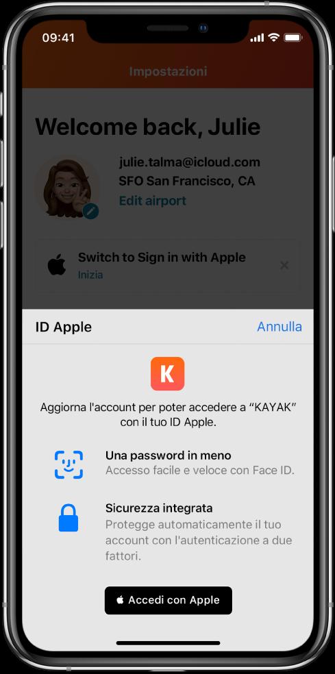 """Un'app che mostra un pulsante """"Accedi con Apple""""."""