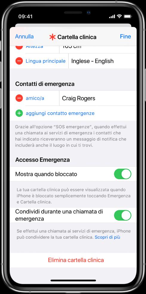 Una schermata della cartella clinica. Nella parte inferiore dello schermo sono visibili le opzioni per mostrare le informazioni della cartella clinica quando iPhone è bloccato e quando effettui una chiamata d'emergenza.