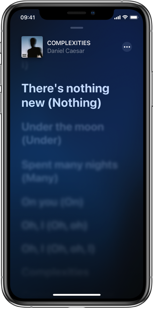 La schermata dei testi mostra il titolo della canzone, il nome dell'artista e il pulsante Altro in alto. Il testo attuale viene evidenziato e quello successivo è oscurato.