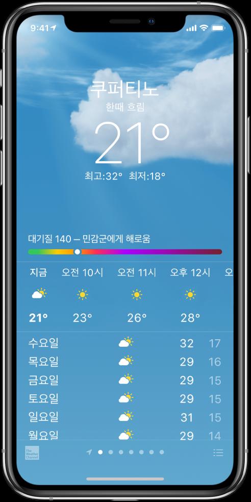 위치, 현재 기온, 오늘의 최고 및 최저 기온, '민감군에게 해로움'으로 표시된 대기질 지수 차트가 있는 날씨 화면. 화면 가운데에는 시간 단위의 최신 일기 예보와 다음 7일간의 일기 예보가 있음. 중앙 하단에 나열된 점은 위치 목록에 있는 위치의 수를 표시함. 오른쪽 하단 모서리에 도시 편집 버튼이 있음.