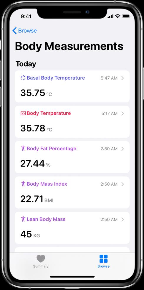 """Kategorijos """"Body Measurements"""" išsamios informacijos ekranas."""
