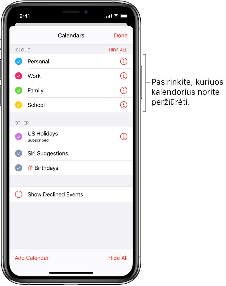 """Kalendorių sąraše aktyvūs kalendoriai pažymimi varnele. Mygtukas """"Done"""" sąrašams uždaryti viršutiniame dešiniajame kampe."""