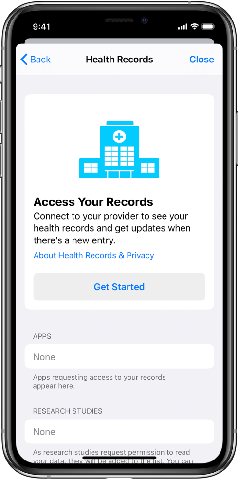 """""""Get Started"""" ekranas skirtas sveikatos įrašų atsisiuntimui konfigūruoti."""