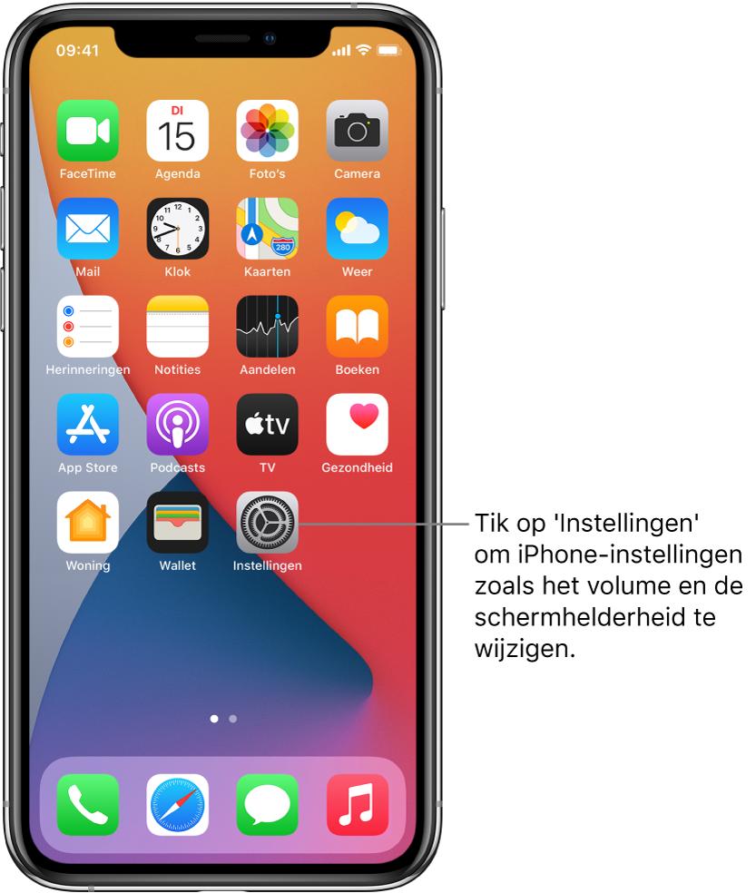Het beginscherm met diverse appsymbolen, zoals het symbool van de Instellingen-app, waarop je kunt tikken om het volume, de schermhelderheid en andere iPhone-instellingen te wijzigen.