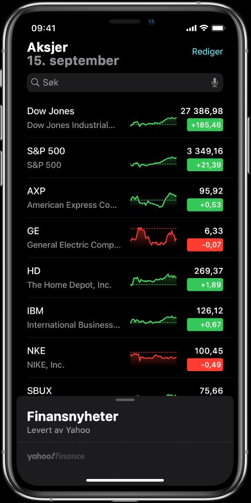 En overvåkningsliste som viser en liste med forskjellige aksjer. Hver aksje i listen viser, fra venstre til høyre, aksjesymbolet og -navnet, en ytelseskurve, aksjeprisen og prisendringen. Øverst på skjermen over overvåkningslisten er søkefeltet. Under overvåkningslisten finnes Finansnyheter. Sveip opp på Finansnyheter for å vise saker.