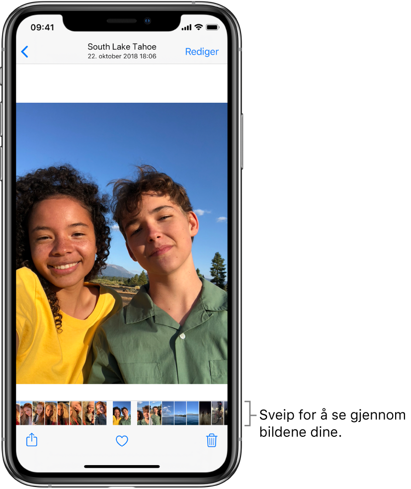 Et bilde med miniatyrbilder av andre bilder nederst på skjermen. Øverst til venstre er det en tilbake-knapp som tar deg tilbake til visningen der du holdt på. Nederst er Del-, Lik- og Slett-knappene. Øverst til høyre er Rediger-knappen.