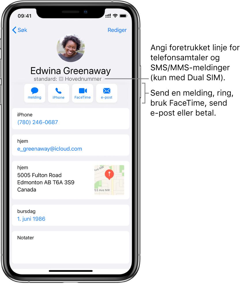 Infoskjermen for en kontakt. Kontaktens bilde og navn er øverst. Under finnes knapper for å sende en melding, starte et telefonanrop, starte et FaceTime-anrop, sende en e-postmelding og sende penger med Apple Pay. Under knappene er kontaktinformasjonen.