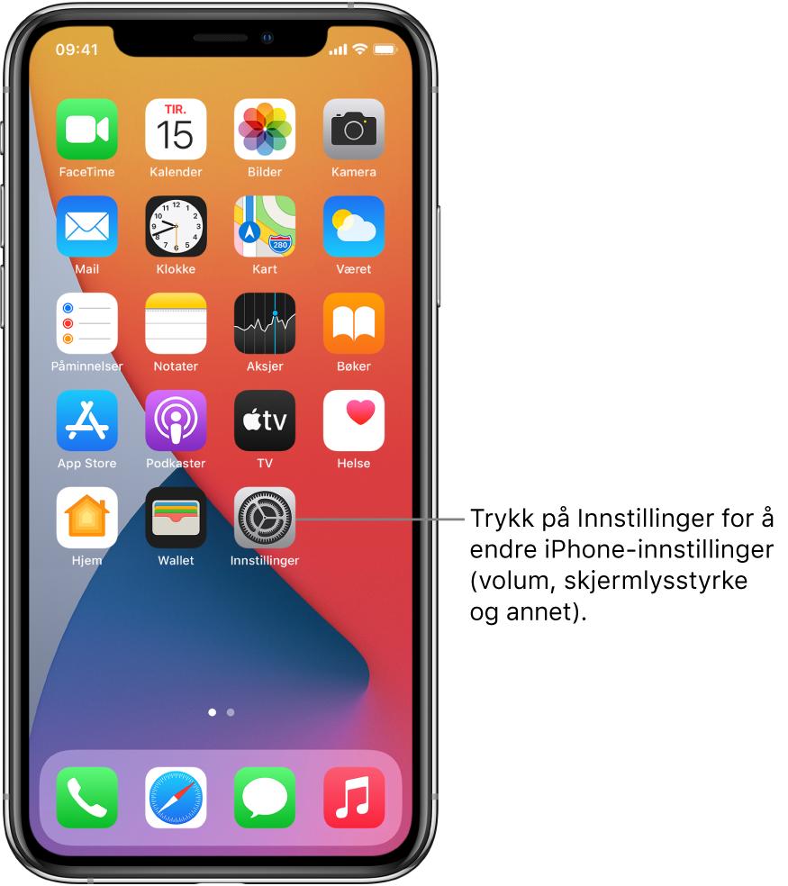 Hjem-skjermen med flere appsymboler, inkludert Innstillinger-symbolet, som du kan trykke på for å endre lydvolumet, lysstyrken på skjermen og annet på iPhone.