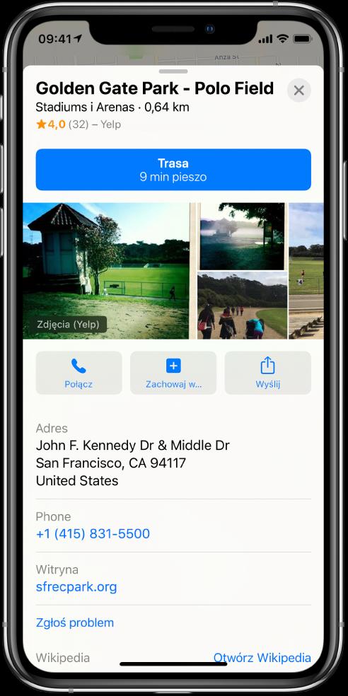 Karta informacji na temat parku. Ugóry karty znajduje się przycisk Trasa. Pod nim wyświetlane są zdjęcia parku. Pod zdjęciami, od lewej do prawej, widoczne są przyciski Połącz, Zachowaj wiWyślij. Pod przyciskami wyświetlane są dodatkowe informacje, na przykład adres, numer telefonu iłącze www.