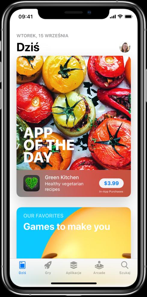 Ekran Dziś waplikacji AppStore, przedstawiający polecaną aplikację. Wprawym górnym rogu widoczne jest Twoje zdjęcie profilowe. Możesz wnie stuknąć, aby przeglądać swoje zakupy oraz zarządzać subskrypcjami. Na dole znajdują się (od lewej) następujące karty: Dziś, Gry, Aplikacje, Arcade oraz Szukaj.