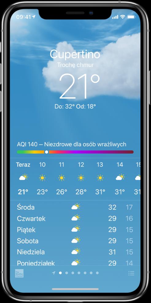 """Ekran aplikacji Pogoda, wyświetlający miejsce, bieżącą temperaturę, najwyższą inajniższą temperaturę wdanym dniu oraz indeks jakości powietrza zinformacją """"Niezdrowe dla osób wrażliwych"""". Na środku ekranu znajduje się bieżąca godzinowa prognoza pogody, apod nią prognoza na najbliższych siedem dni. Szereg kropek na środku dolnej części ekranu określa liczbę dodanych miejsc. Wprawym dolnym rogu znajduje się przycisk Edycja miast."""