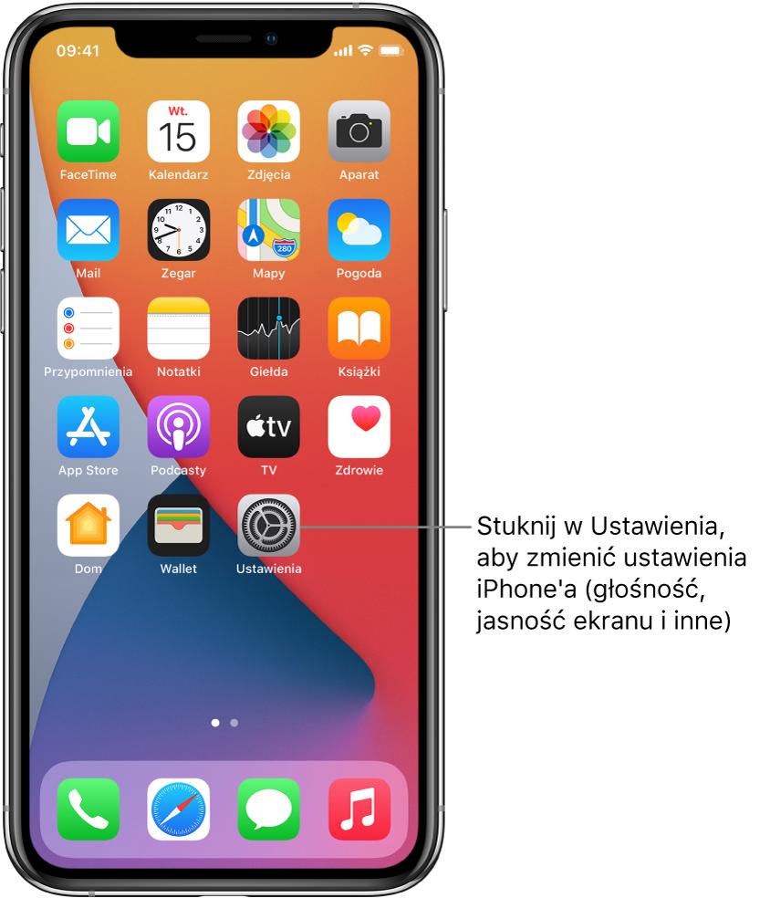Ekran początkowy zszeregiem ikon, wtym ikoną aplikacji Ustawienia, która pozwala zmieniać ustawienia głośności iPhone'a, jasności jego ekranu iinne.