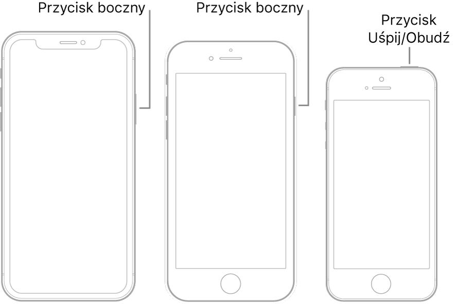 Położenie przycisku bocznego lub przycisku Uśpij/Obudź na trzech różnych modelach iPhone'a.