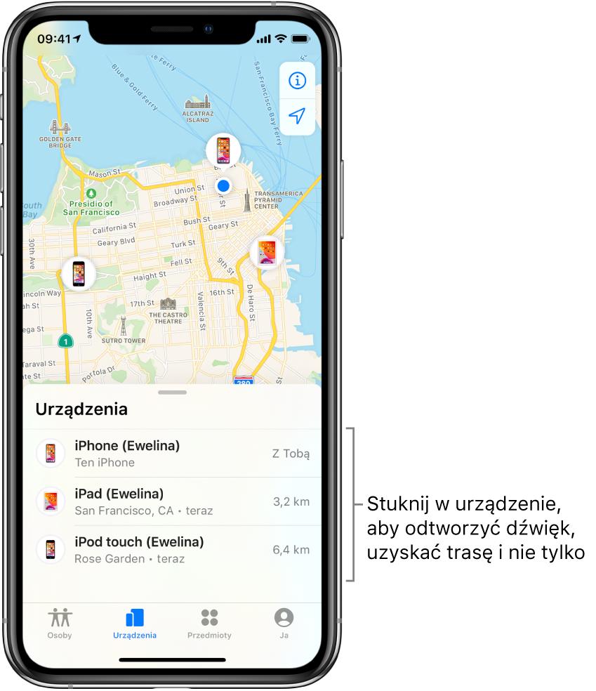 Karta Urządzenia waplikacji Lokalizator. Lista Urządzenia zawiera trzy pozycje: iPhone (Ewelina), iPad (Ewelina) oraz iPodtouch (Ewelina). Ich położenie jest wyświetlane na mapie San Francisco.