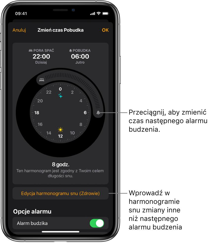 Ekran zmiany alarmu budzika zawierający przyciski do przeciągania czasu Pora spać iczasu Pobudka, przycisk zmiany harmonogramu snu waplikacji Zdrowie oraz przycisk pozwalający włączać iwyłączać alarm budzika.