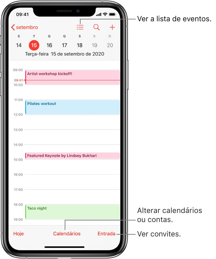 Um calendário na visualização de dia mostrando os eventos do dia. Toque no botão Calendários na parte inferior da tela para alterar as contas do calendário. Toque no botão Entrada no canto inferior direito para ver os convites.