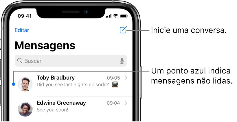 A lista Mensagens, com o botão Editar na parte superior esquerda e o botão Compor na parte superior direita. Um ponto azul à esquerda de uma mensagem significa que ela não foi lida.