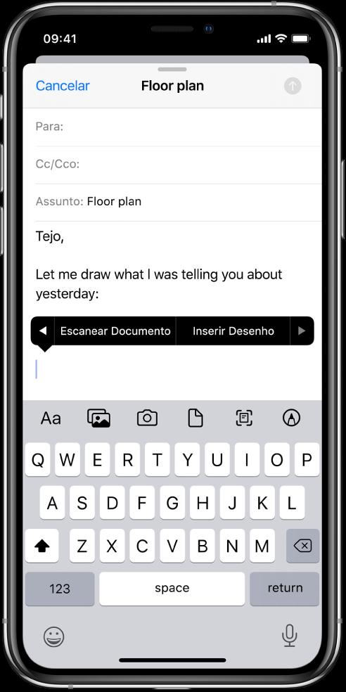 Rascunho de um e‑mail sendo redigido com o botão inserir desenho visível no meio da tela.
