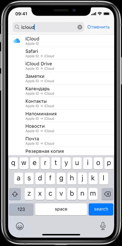Экран поиска настроек с полем поиска вверху. В поле поиска введен поисковый запрос iCloud, а в списке под ним показаны найденные настройки.
