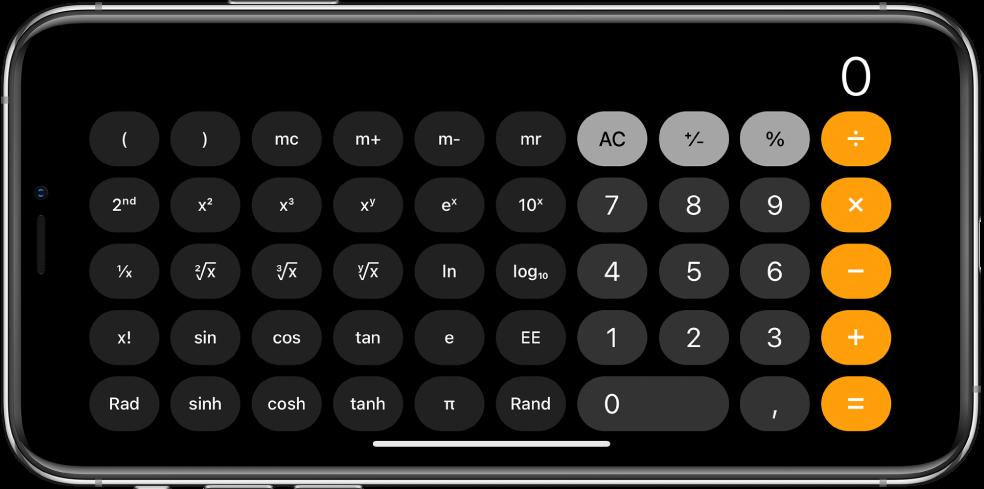 iPhone повернут горизонтально. На его экране показан научный калькулятор с экспоненциальными, логарифмическими и тригонометрическими функциями.